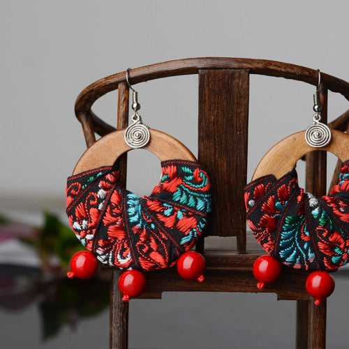 Handmade wood green and red beads dangle earrings, - Panache Exclusive Jewelry