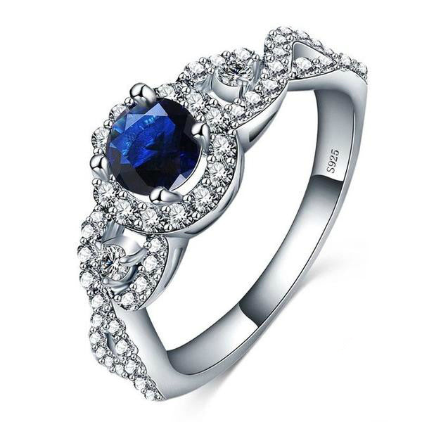 Blue Cubic Zirconia and Silver Ring