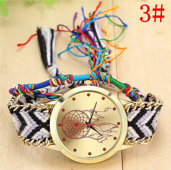 Handmade Braided Dreamcatcher Friendship Bracelet Watch - Panache Exclusive Jewelry