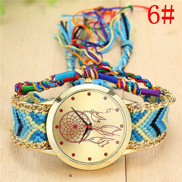 Handmade Braided Dreamcatcher Friendship Bracelet Watch