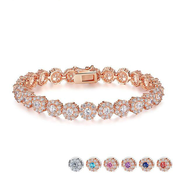 Rose colored cubic zirconia bracelet
