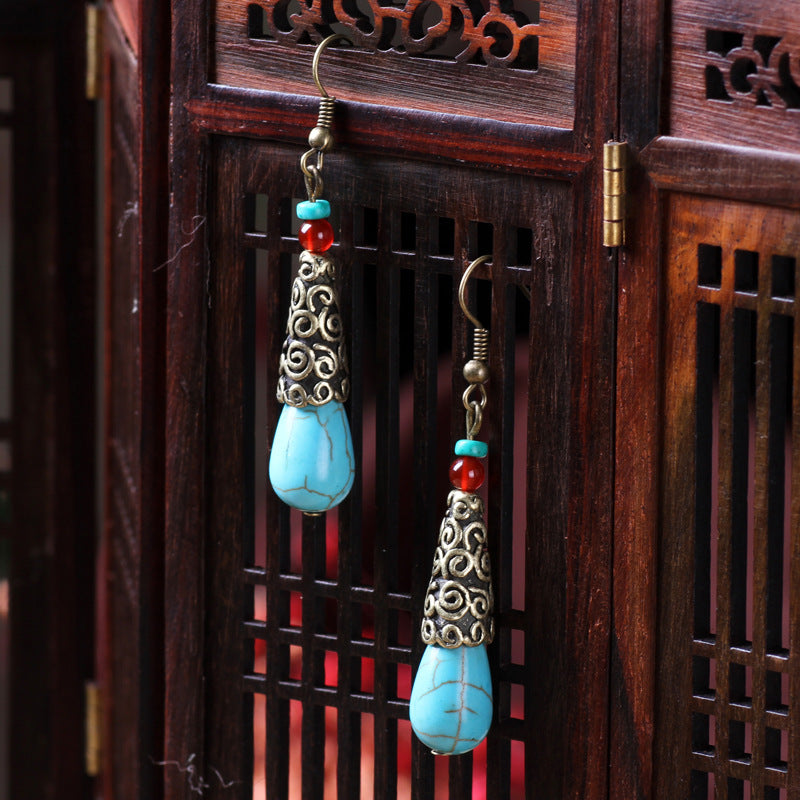 handmade ear clip dangle earrings ,New Ethnic vintage Nepal no pierce earrings,fashion nature stonesstones earrings - Panache Exclusive Jewelry