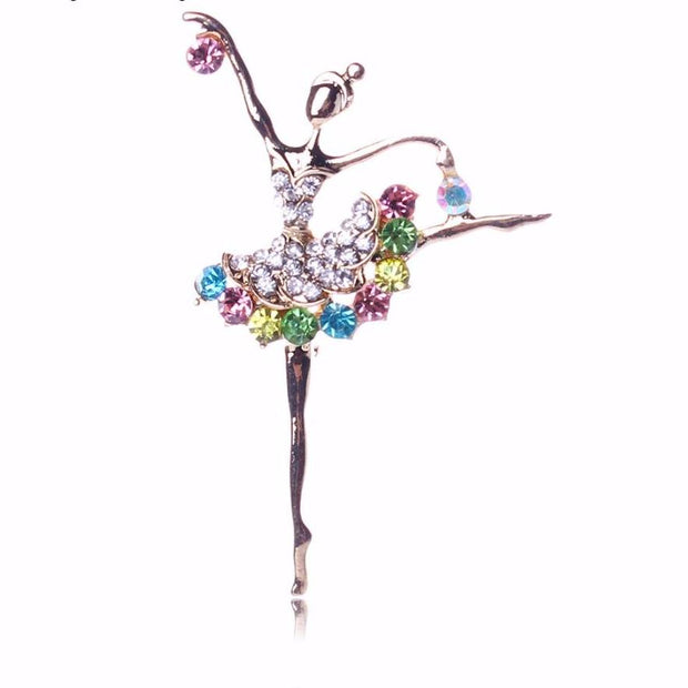 The Rhinestone Ballerina Pin - Panache Exclusive Jewelry