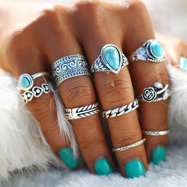 bohemian style midi ring set silver tone with stones