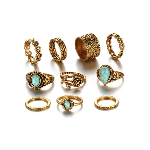 gold tone bohemian style midi ring set with stones