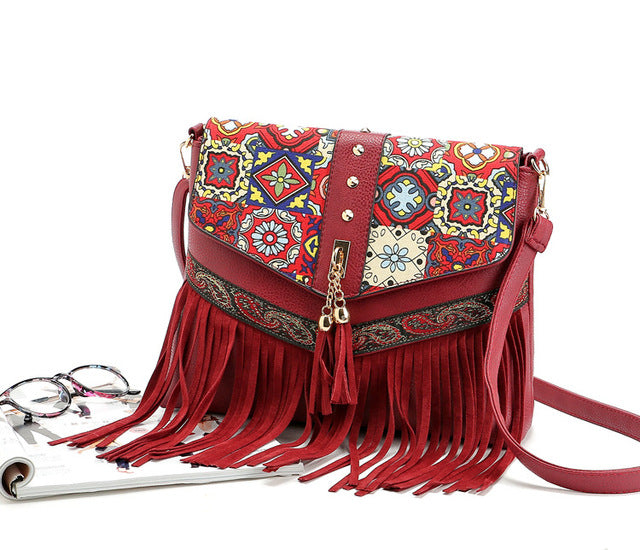 red bohemian messenger bag
