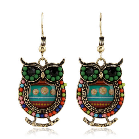 multi color beaded owl earrings