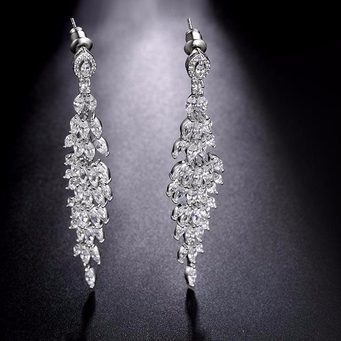 Crystal Leaf Long Drop Earrings Luxury Bridal Wedding Cubic Zirconia Earring