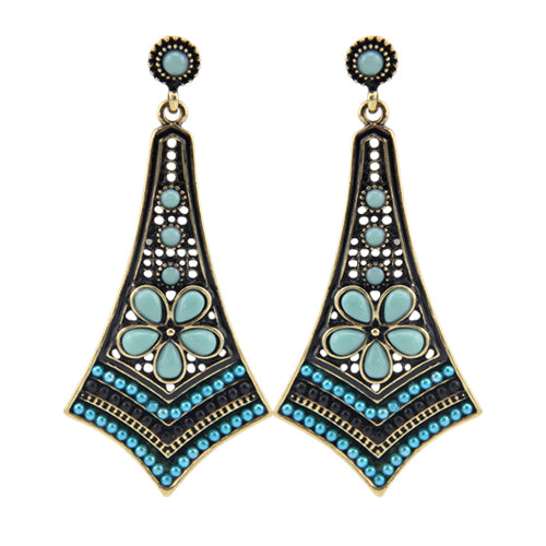 Blue Bohemian beaded earrings