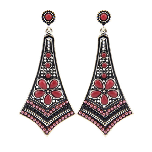 Red Bohemian beaded earrings