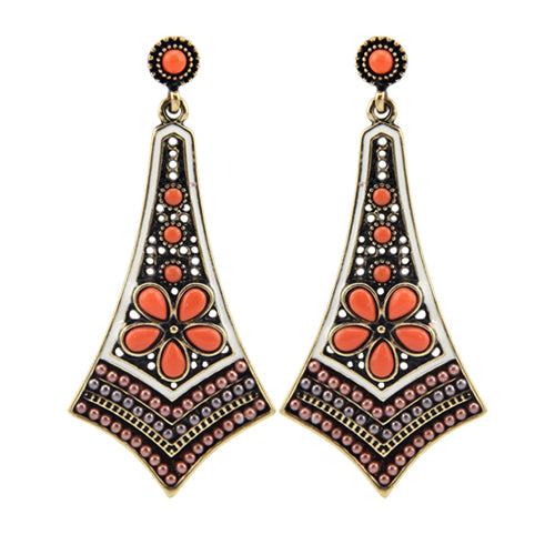 Orange Bohemian beaded earrings