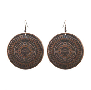 Bronze Disk Dangle Earrings for Fashion and Cosplay