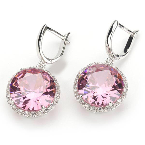 pink cubic zirconia earrings with sterling silver