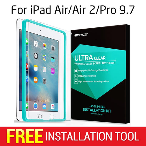 Screen Protector for iPad 2017/Air/Air 2/Pro 9.7, ESR Triple Strength Tempered Glass Film