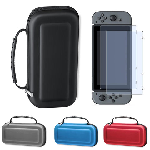 Hard Carry Case For Nintendo Switch + 2 PCS Tempered Screen Protector