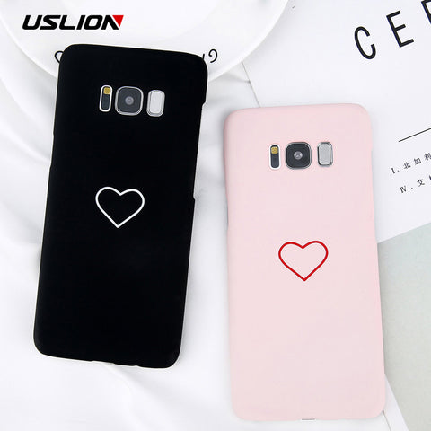 USLION Cartoon Couples Love Heart Case For Samsung
