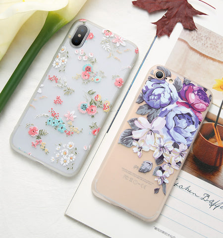 KISSCASE 3D Relief Floral Phone Case For iPhone