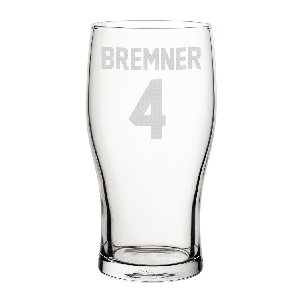 Leeds Bremner 4 Engraved Pint Glass-Engraved-The Terrace Store