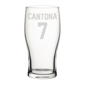 United Cantona 7 Engraved Pint Glass
