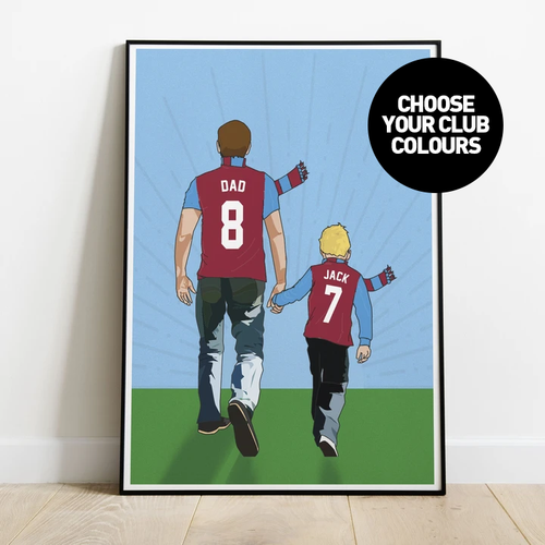 Hand In Hand Dad Print - Choose Your Club