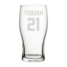 Load image into Gallery viewer, Leeds Yeboah 21 Engraved Pint Glass-Engraved-The Terrace Store