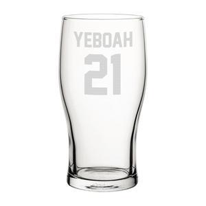Leeds Yeboah 21 Engraved Pint Glass
