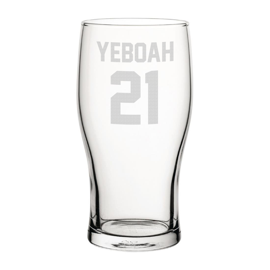 Leeds Yeboah 21 Engraved Pint Glass-Engraved-The Terrace Store