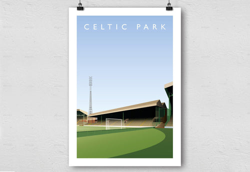 Celtic Park Illustrated Poster-Posters-The Terrace Store