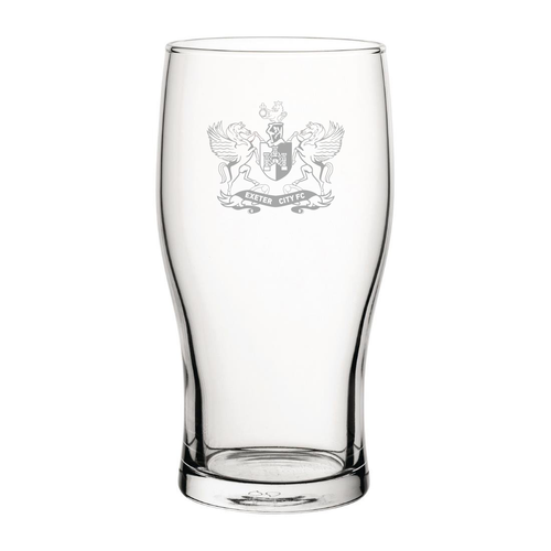 Exeter City Retro Badge Engraved Pint Glass