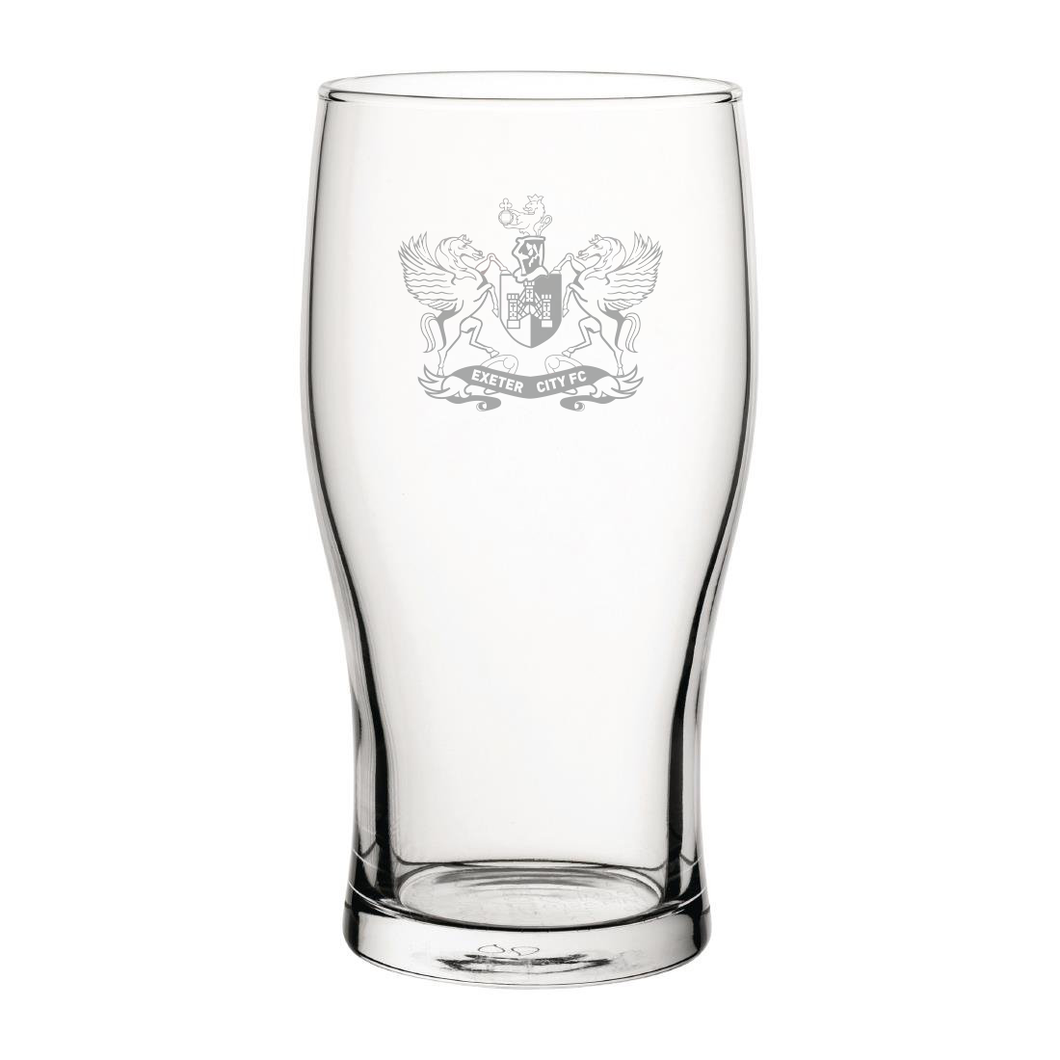 Exeter City Retro Badge Engraved Pint Glass-Engraved-The Terrace Store