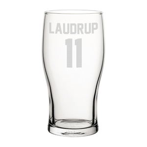 Rangers Laudrup 11 Engraved Pint Glass-Engraved-The Terrace Store