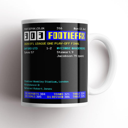 2020 Wycombe Playoff Final Footie Fax Mug