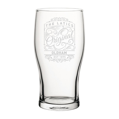 Oldham Originals Engraved Pint Glass