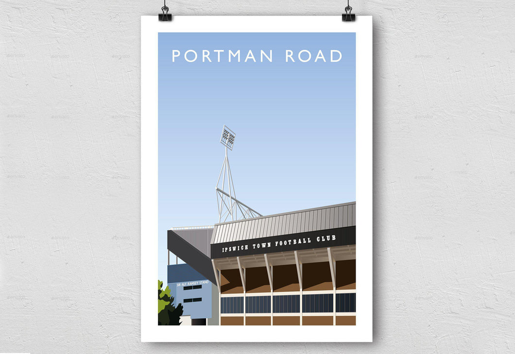 Portman Road Illustrated Poster-Posters-The Terrace Store