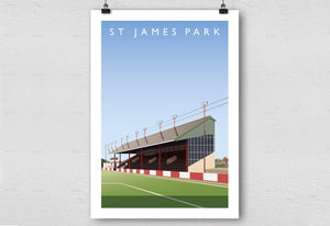 St James Park Illustrated Poster-Posters-The Terrace Store