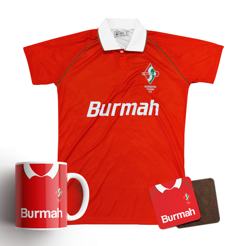 Swindon Town 1993 Home Retro Shirt & Mug/Coaster Bundle - Preorder
