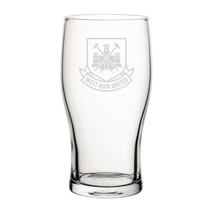 West Ham United Retro Crest Engraved Pint Glass-Engraved-The Terrace Store