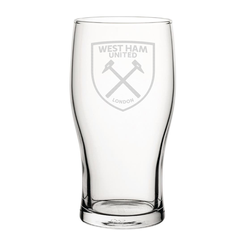 West Ham United Crest Engraved Pint Glass-Engraved-The Terrace Store
