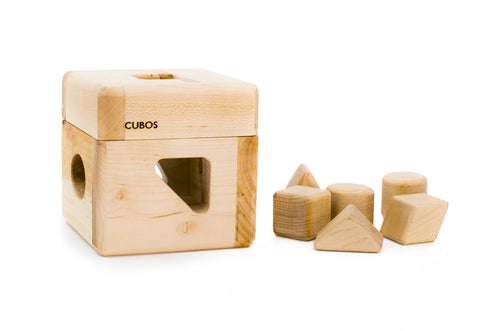 CUBOS-lite (100% Natural,Shape Sorter,Heirloom Quality, Hardwood, Made in Canada)