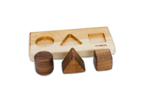 CUBOS-BASIC with Walnut inserts (100% Natural,Shape Sorter,Hardwood, Made in Canada)