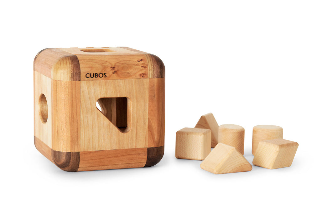 CUBOS with Maple inserts (100% Natural,Shape Sorter,Heirloom Quality, Hardwood, Made in Canada)