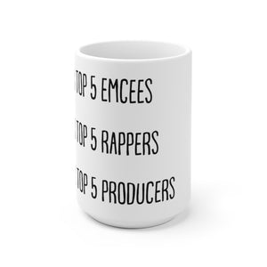 """Name Your Top 5"" Hip Hop Conversation-Starter Mug"