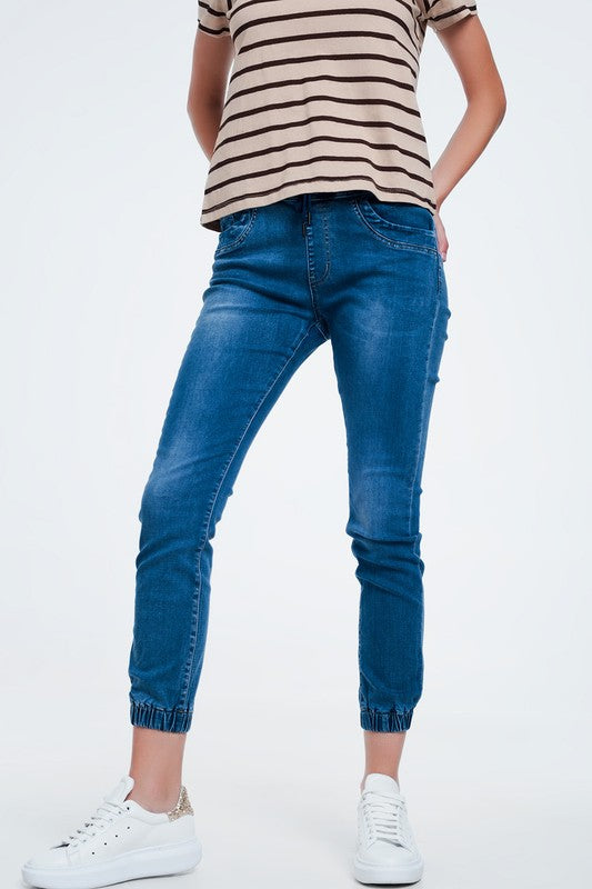 Women's Petite Denim Jogger Pants (Pull On)