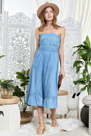 Petite wide leg denim jumpsuit