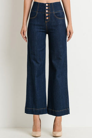 Petite high waisted wide leg jeans (Super dark wash)