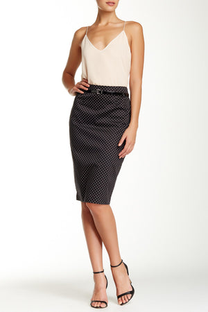 Petite Polka Dot Pencil Skirt with Belt