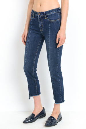 "Petite straight leg jeans with seam detail 25.5"" inseam"