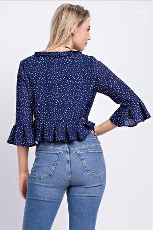 Julia Blue Polka Dot Blouse