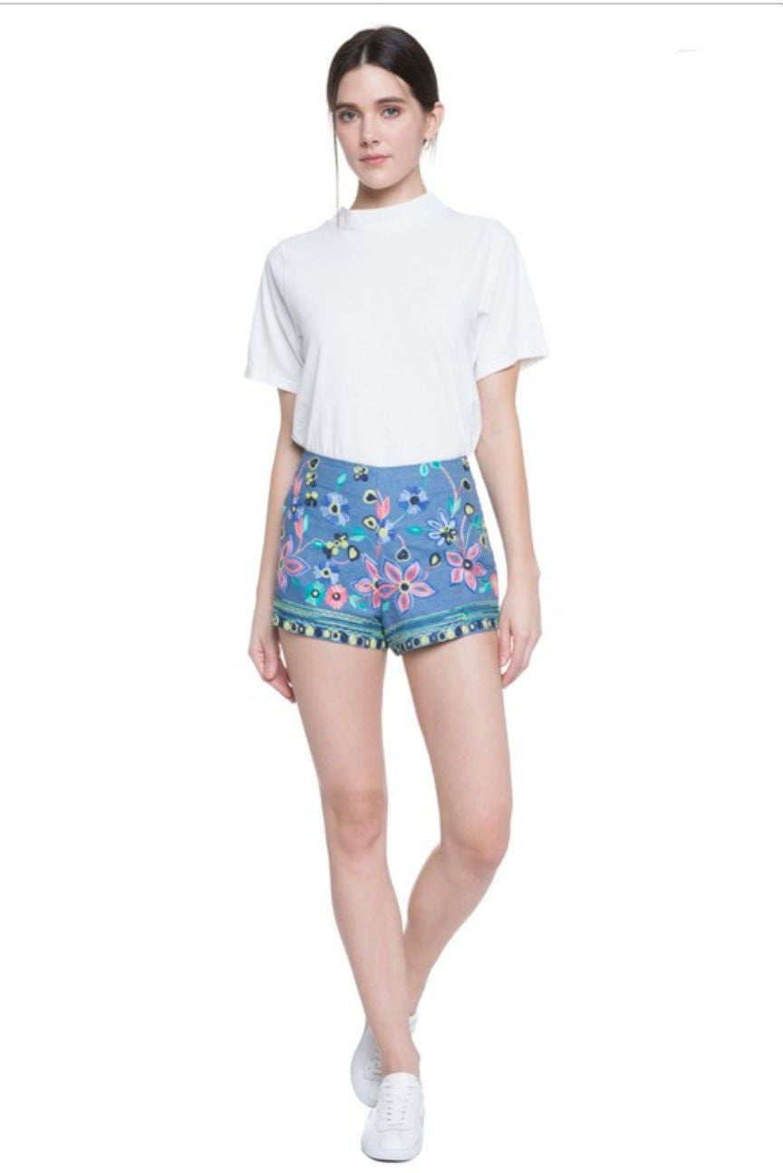 Darcie High Rise Petite Denim Embroidery Shorts