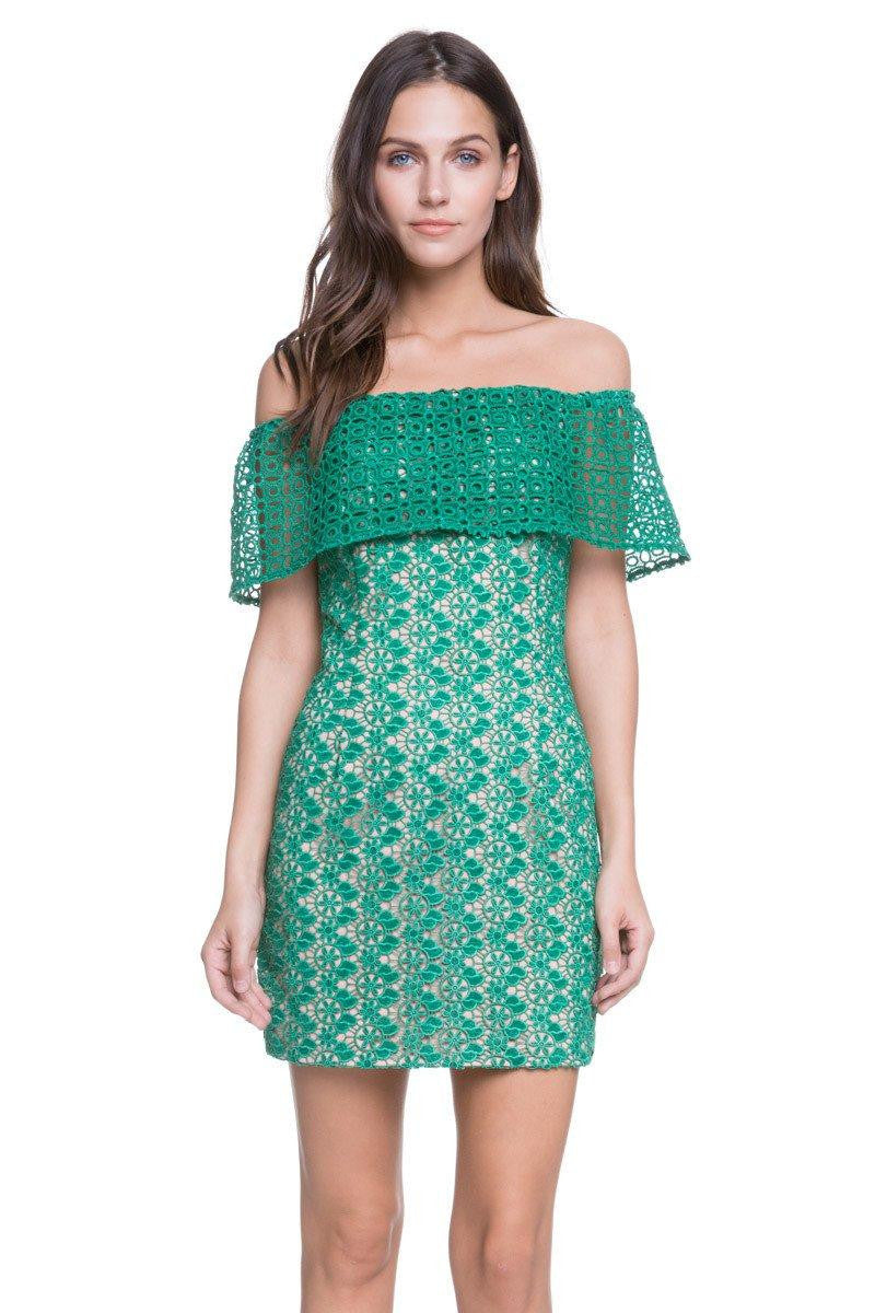 Endless Rose Green Lace Off the Shoulder Dress